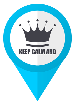 Keep calm and blue pointer icon Stock Photo