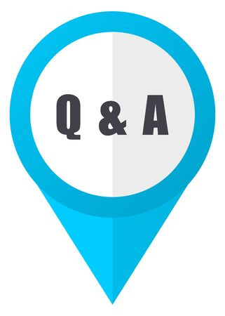 asked: Question answer blue pointer icon Stock Photo