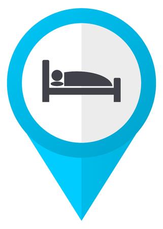 Hotel blue pointer icon Stock Photo