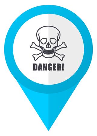 頭蓋骨の危険の青いポインター アイコン