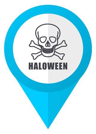 of helloween: Haloween skull blue pointer icon Stock Photo