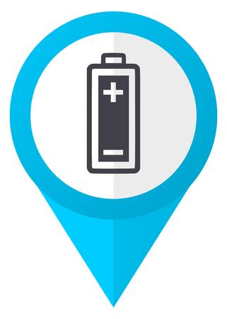 Battery blue pointer icon Stock Photo
