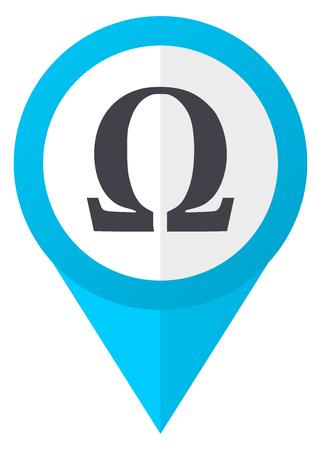 Omega blue pointer icon Stock Photo