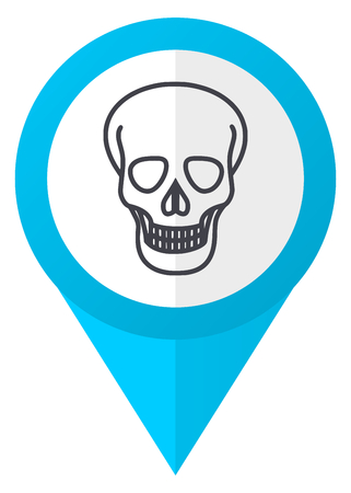 Skull blue pointer icon Stock Photo