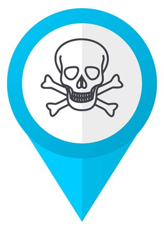 arrow poison: Skull blue pointer icon Stock Photo