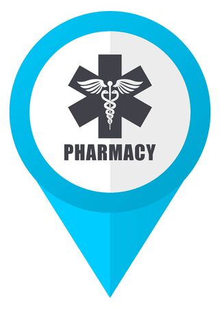 homeopathic: Pharmacy blue pointer icon