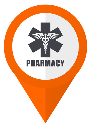 esculapio: Pharmacy orange pointer vector icon in eps 10 isolated on white background.