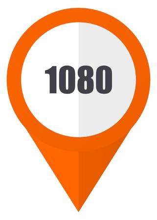 1080 オレンジ ポインター ベクトルのアイコン eps 10 白い背景に分離されました。