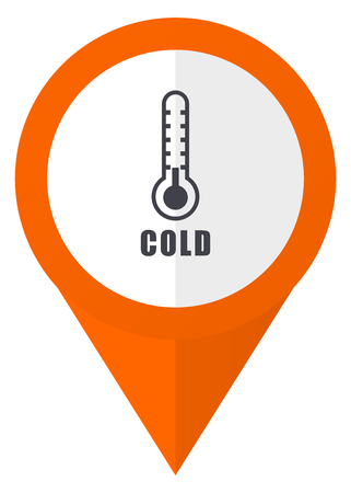 map pin: Cold thermometer orange pointer vector icon in eps 10 isolated on white background.