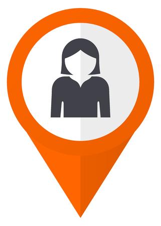 Profile avatar orange pointer vector icon in eps 10 isolated on white background. Illustration