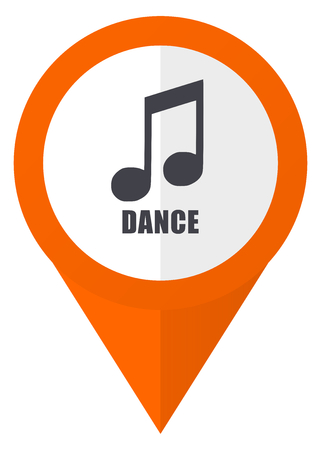 Dance music orange pointer vector icon in eps 10 isolated on white background.