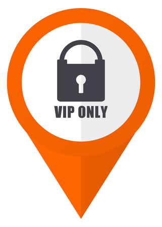 Vip only orange pointer vector icon in eps 10 isolated on white background.