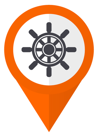 Ship wheel orange pointer vector icon in eps 10 isolated on white background.