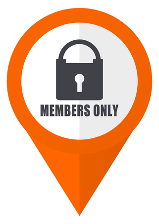 Members only orange pointer vector icon in eps 10 isolated on white background.
