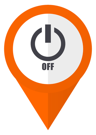map pin: Power off orange pointer vector icon in eps 10 isolated on white background.
