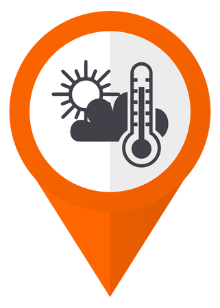 map pin: Weather forecast orange pointer vector icon in eps 10 isolated on white background. Illustration