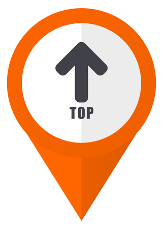 map pin: Top orange pointer vector icon in eps 10 isolated on white background.