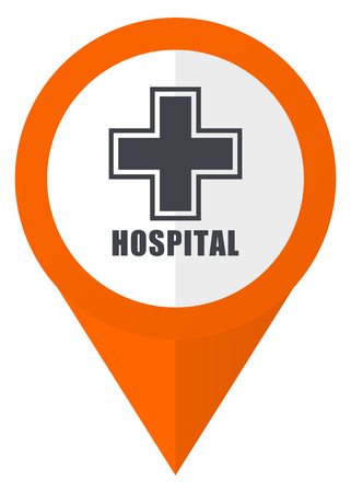 map pin: Hospital orange pointer vector icon in eps 10 isolated on white background. Illustration