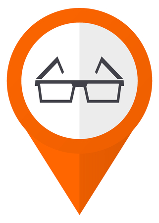 3d glasses orange pointer vector icon in eps 10 isolated on white background.