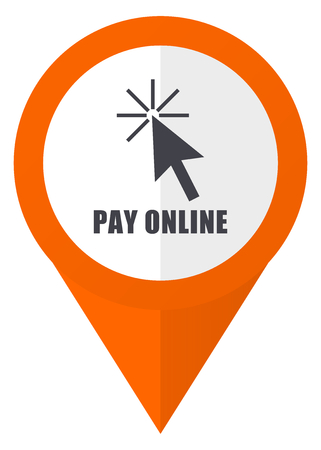 security symbol: Pay online orange pointer vector icon in eps 10 isolated on white background.