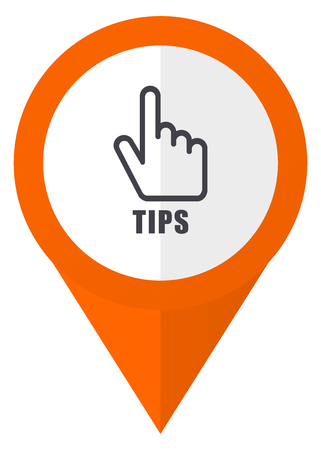 Tips orange pointer vector icon in eps 10 isolated on white background. Illustration