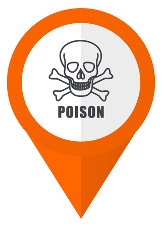toxic substance: Poison skull orange pointer vector icon in eps 10 isolated on white background. Illustration