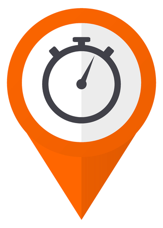 map pin: stopwatch orange pointer vector icon in eps 10 isolated on white background.