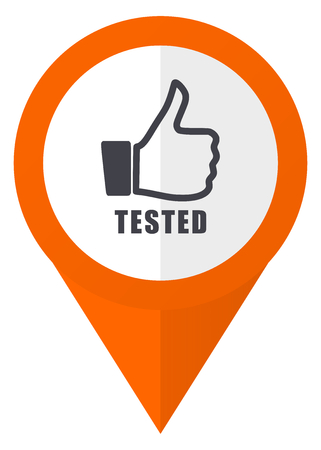 Tested orange pointer vector icon in eps 10 isolated on white background. Illustration