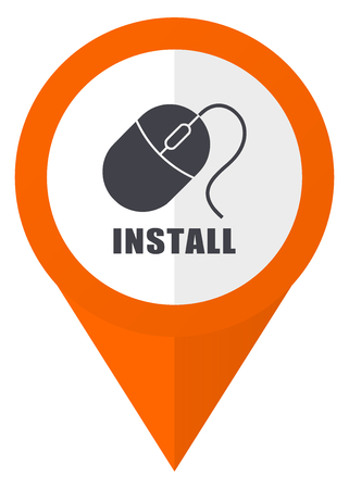 Install orange pointer vector icon in eps 10 isolated on white background.