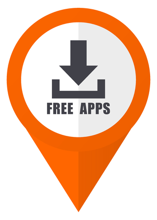 map pin: Free apps orange pointer vector icon in eps 10 isolated on white background.