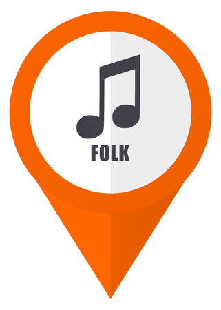 Folk music orange pointer vector icon in eps 10 isolated on white background.