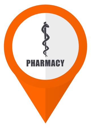 Pharmacy orange pointer vector icon in eps 10 isolated on white background.