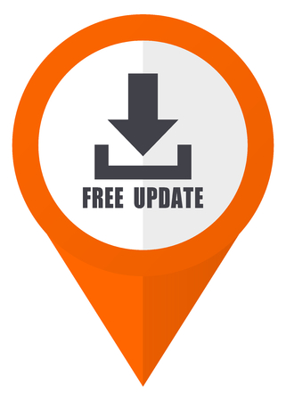 map pin: Free update orange pointer vector icon in eps 10 isolated on white background.