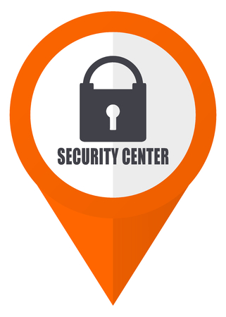 map pin: Security center orange pointer vector icon in eps 10 isolated on white background. Illustration