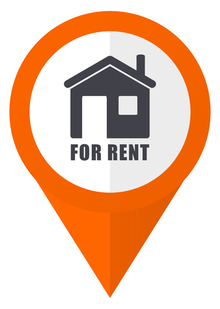 apartment for rent: For rent orange pointer vector icon in eps 10 isolated on white background.