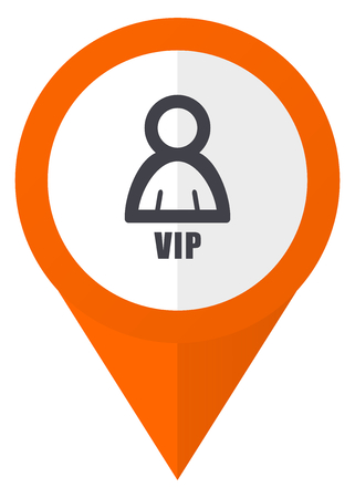 Vip orange pointer vector icon in eps 10 isolated on white background.