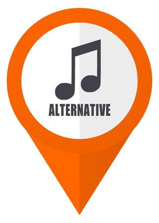 Alternative music orange pointer vector icon in eps 10 isolated on white background.