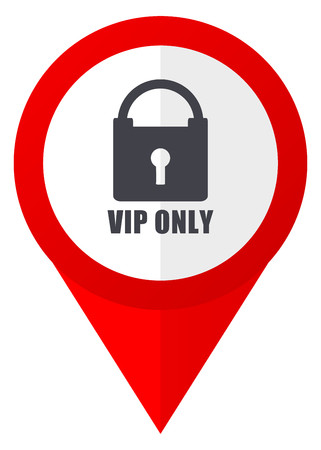 Vip only red web pointer icon. Webdesign button on white background.