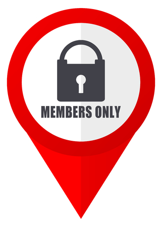 members only: Members only red web pointer icon. Webdesign button on white background. Stock Photo