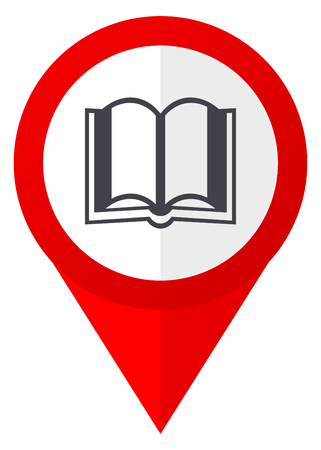 Book red web pointer icon. Webdesign button on white background.
