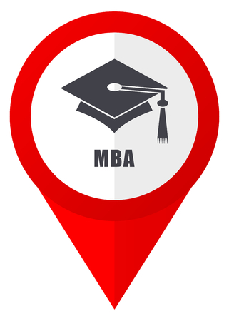 Mba red web pointer icon. Webdesign button on white background.