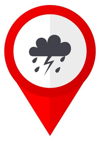 Storm red web pointer icon. Webdesign button on white background. Stock Photo