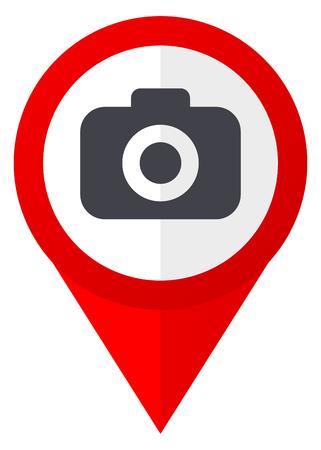 Photo camera red web pointer icon. Webdesign button on white background.