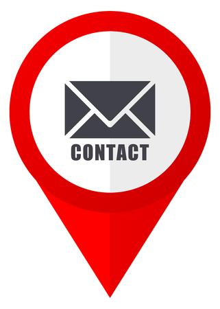 Correo electrónico icono de puntero web rojo. Botón de diseño web sobre fondo blanco.