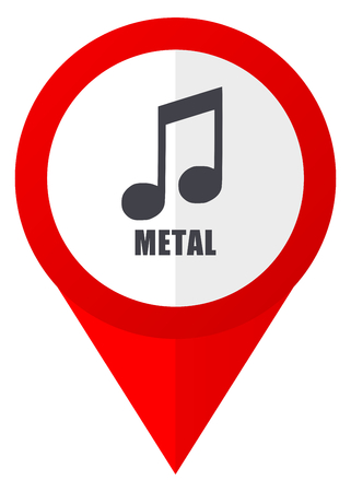 Metal music red web pointer icon. Webdesign button on white background.
