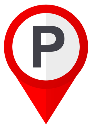 pause icon: Parking red web pointer icon. Webdesign button on white background.