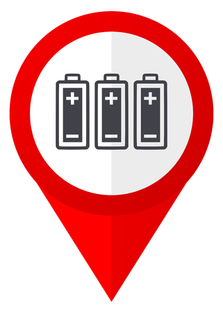Battery red web pointer icon. Webdesign button on white background.