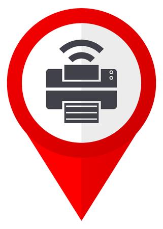 Printer red web pointer icon. Webdesign button on white background. Stock Photo
