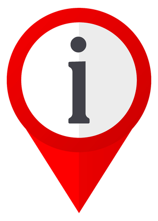 Information red web pointer icon. Webdesign button on white background.