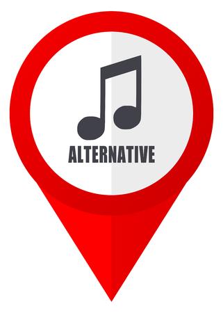 Alternative music red web pointer icon. Webdesign button on white background.